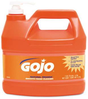 Picture of item 968-723 a GOJO® NATURAL* ORANGE™ Smooth Hand Cleaner. 1 Gallon Pump Bottle. 4 Bottles/Case.