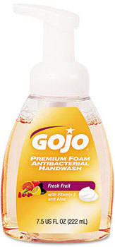 Picture of item 670-781 a GOJO® Premium Foam Antibacterial Hand Wash,  Fresh Fruit Scent, 7.5 oz Pump, 6/Carton