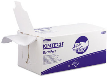 Kimtech* SCOTTPURE* Critical Task Wipers,  12 x 23, White, 50/Bx, 8 Boxes/Carton