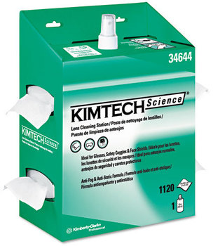 Picture of item 351-129 a Kimtech* KIMWIPES* Lens Cleaning Station,  POP-UP Box, 1120 Wipes/Box, 4/Carton