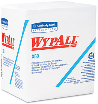 WypAll* X60 Wipers,  1/4-Fold, 12 1/2 x 13, White, 76/Box, 12 Boxes/Carton
