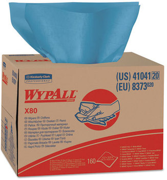 Picture of item 874-206 a WypAll* X80 Wipers,  Brag Box, HYDROKNIT, 12 1/2 x 16 4/5, 160 Wipers/Carton