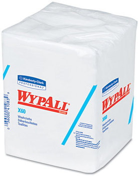 WypAll* X60 Washcloths,  12 1/2 x 10, White, 70/Pack, 8 Packs/Carton