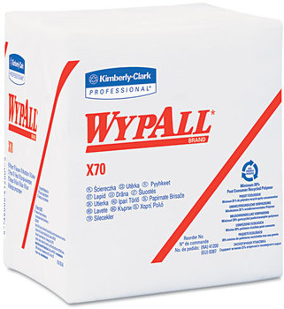 Picture of item 874-202 a WypAll* X70 Wipers,  1/4-Fold, 12 1/2 x 12, White, 76/Pack, 12 Packs/Carton
