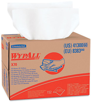 Picture of item 874-203 a WypAll* X70 Wipers in Brag Box. 12 1/2 X 16 4/5 in. White. 200 wipes.