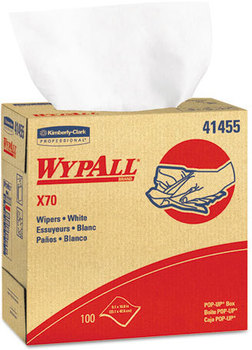 Picture of item 874-204 a WypAll* X70 Wipers,  POP-UP Box, 9 1/10 x 16 4/5, White, 100/Box, 10 Boxes/Carton