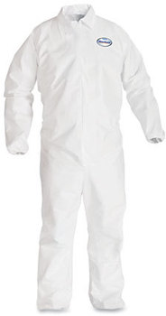 KleenGuard* A40 Elastic-Cuff and Ankle Coveralls with Zipper. 2X-Large. White. 25/case.