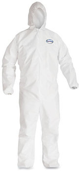 KleenGuard™ A40 Elastic-Cuff Wrist & Ankle, & Hood Coveralls with Zipper. Size X-Large. White. 25/Case.