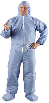 Picture of item KCC-45357 a KleenGuard* A65 Elastic-Cuff Hood & Boot Flame-Resistant Coveralls,  Blue, 4XL, 21/Carton