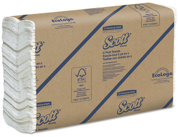 Picture of item 869-301 a SCOTT® C-Fold Towels. 10.125 X 13.15 in. White. 2400 towels.
