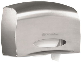 Picture of item KCC-09601 a Kimberly-Clark Professional* Coreless JRT Jr. Bath Tissue Dispenser,  EZ Load, 6x9.8x14.3, Stainless Steel