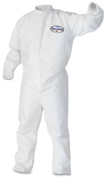 KleenGuard™ A30 Breathable Splash and Particle Protection Coveralls with Elastic Back, Wrists, & Ankles, and Zipper Front. Size X-Large. White. 25/Case.