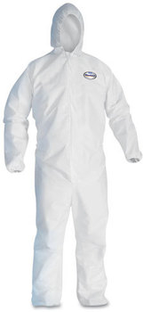 KleenGuard™ A30 Breathable Splash and Particle Protection Coveralls with Hood, Elastic Back, Wrists, & Ankles, and Zipper Front. Size X-Large. White. 25/Case.