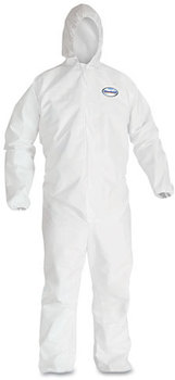 KleenGuard™ A30 Breathable Splash and Particle Protection Coveralls with Hood, Elastic Back, Wrists, & Ankles, and Zipper Front. Size 2X-Large. White. 25/Case.