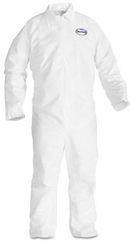 KleenGuard™ A20 Breathable Particle Protection Coveralls with Zipper Front. Size Large. White. 24/Carton.