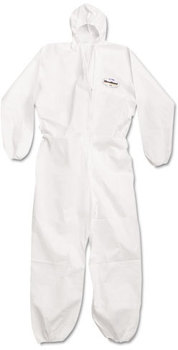 KleenGuard™ A20 Breathable Particle Protection Coveralls with Zipper Front, Elastic Back, Wrists, Ankles, and Hood. Size Large. White. 24/Carton.