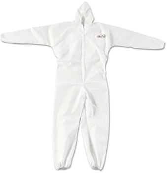 KleenGuard™ A20 Breathable Particle Protection Coveralls with Zipper Front, Elastic Back, Wrists, Ankles, and Hood. Size XL. White. 24/Carton.