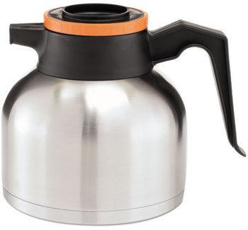 BUNN® Thermal Carafe,  Stainless Steel/ Black and Orange (Decaf)
