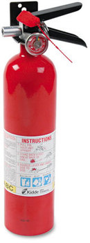 Picture of item KID-466227 a Kidde ProLine™ Dry-Chemical Commercial Fire Extinguisher,  1 A, 10 B:C, 100psi, 15h x 3.25 dia, 2.6lb