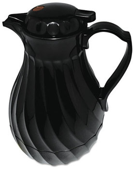 Hormel Swirl Design Poly Lined Carafe,  Swirl Design, 64oz Capacity, Black