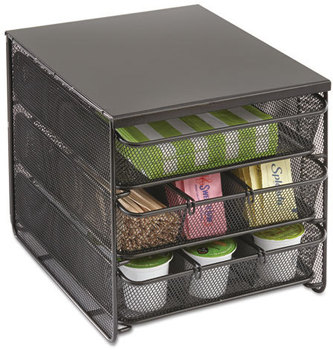 Safco® Onyx™ Three Drawer Hospitality Organizer,  7 Compartments, 11 1/2w x 8 1/4d x 8 1/4h, Bk