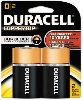 Picture of item DUR-MN1300B2Z a Duracell® CopperTop® Alkaline Batteries with Duralock Power Preserve™ Technology,  D, 2/Pk