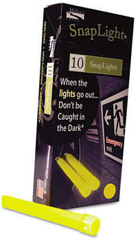 "Picture of item MLE-151849 a Miller's Creek Snaplights,  6""l x 3/4""w, Yellow, 10/Pack"