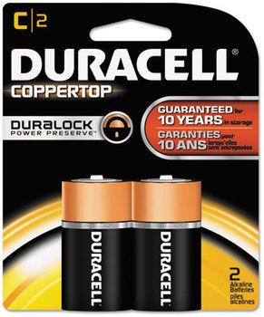 Duracell® CopperTop® Alkaline Batteries with Duralock Power Preserve™ Technology,  C, 2/Pk