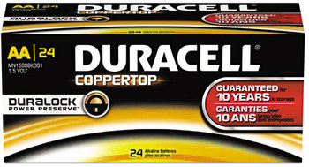 Duracell® CopperTop® Alkaline Batteries with Duralock Power Preserve™ Technology,  AA, 144/CT