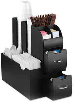 Mind Reader Coffee Condiment and Accessory Caddy,  5 2/5 x 11 x 12 3/5, Black