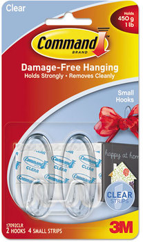 Picture of item MMM-17092CLR a Command™ Clear Hooks and Strips,  Plastic, Small, 2 Hooks & 4 Strips/Pack