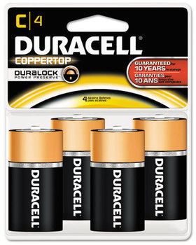 Picture of item DUR-MN1400B4 a Duracell® CopperTop® Alkaline Batteries with Duralock Power Preserve™ Technology,  C, 4/Pk