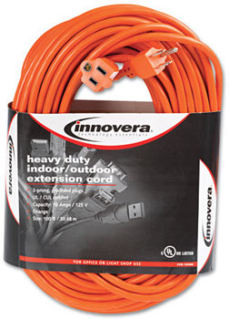Picture of item IVR-72200 a Innovera® Indoor/Outdoor Extension Cord,  100ft, Orange