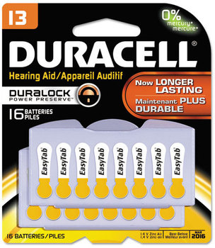 Picture of item DUR-DA13B16ZM09 a Duracell® Button Cell Hearing Aid Battery #13, 16/Pk