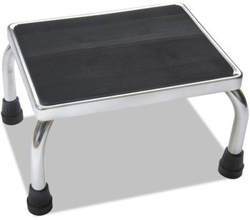 Medline Chrome Foot Stool,  16w x 12d x 8 1/4h, Steel, Chrome/Black Mat