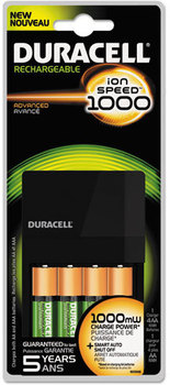 Duracell® ION SPEED™ 1000 Advanced Charger,  Includes 4 AA NiMH Batteries.