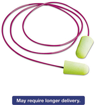 Picture of item MLX-6900 a Moldex® Pura-Fit® Single-Use Earplugs,  Corded, 33NRR, Bright Green, 100 Pairs