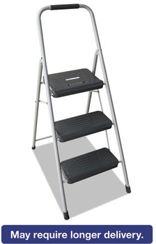 Louisville® Black & Decker Steel Step Stool,  Three-Step, 200 lb Cap, Gray