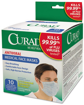 Picture of item MII-CUR384S a Curad® Antiviral Medical Face Mask,  Pleated, 10/Box