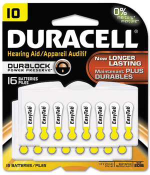 Picture of item DUR-DA10B16ZM10 a Duracell® Button Cell Hearing Aid Battery, #10, 16/Pk
