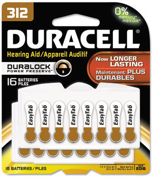 Duracell® Button Cell Hearing Aid Battery #312, 16/Pk
