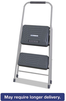 Louisville® Black & Decker Steel Step Stool,  Two-Step, 200 lb Cap, Gray