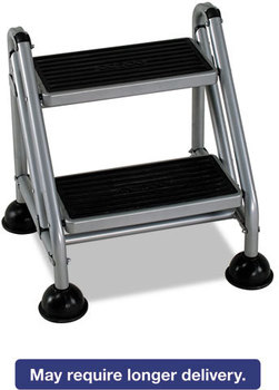 Cosco® Rolling Commercial Step Stool,  2-Step, 19 7/10 Spread, Platinum/Black