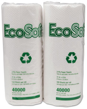 Picture of item 875-800 a EcoSoft® Household Roll Towels. 11 X 9 in sheets. White. 3000 sheets.