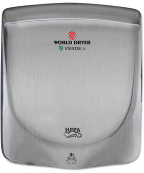 WORLD DRIVER® VERDEdri Hand Dryer,  Stainless Steel, Brushed