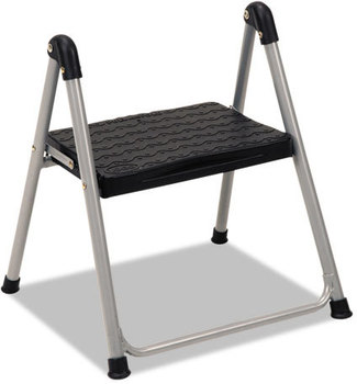 "Cosco® Folding Step Stool,  1-Step, 200lb, 9 9/10"" Working Height, Platinum/Black"