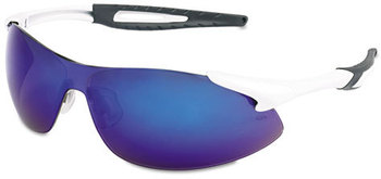 Picture of item CRW-IA138B a Crews® Inertia Safety Glasses,  White Frame, Blue Diamond Mirror Lens, One Size