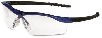 Picture of item CRW-DL310AF a Crews® Dallas™ DL1 Series Anti Fog Safety Glasses. Metallic Blue Frame with Black Temples and Clear Lens.