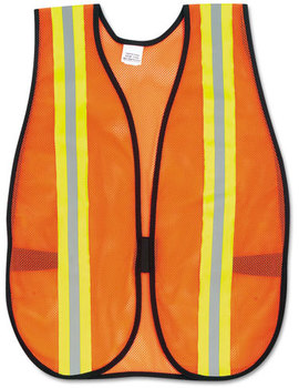 "Picture of item CRW-V201R a MCR™ Safety One Size Reflective Safety Vest,  2"" Reflective Strips, Polyester, Side Straps, One Size"