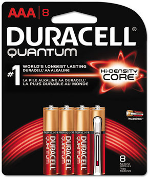 Picture of item DUR-QU2400B8Z a Duracell® Quantum AAA Alkaline Batteries with Duralock Power Preserve™ Technology. 8 count.